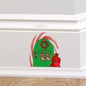 Full Colour Elf Door Elfs Workshop Christmas Fairy Pixie Door Wall Sticker Decal Childrens Festive Christmas Skirting Board Mural Wreath Candy Cane Santa Sack