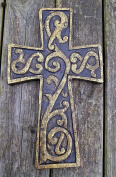 Le Fleur Cross, Wooden Wall Hanging, Fair Trade 25cm Antique Gold Finish