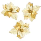 3pcs Luxury 20cm Glitter Artificial Christmas Flowers XMAS Tree Wreaths Decor Ornament Glod