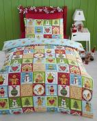 Gingerbread Christmas Single Quilt Duvet Cover & 1 Pillowcase Bedding Bed Set