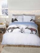 Reindeer Christmas King Quilt Duvet Cover & 2 Pillowcase Bedding Bed Set Xmas