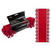 Christmas Decoration Table Runner Felt Red Snowflake Xmas Design 2M