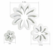 3 x Sugarcraft Carnation Plunger Cutter for Cake Decorating