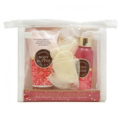 Winterberry 3 pc Travel Pack Set Body Wash, Body Butter & Mesh Pouffe