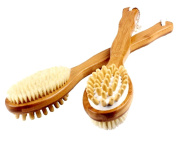 Bamboo Bath Body Brush for Back Scrubber - Natural Bristles Shower Brush with Long Handle - Excellent For Exfoliating Skin - Use Wet or Dry - Suitable for Men and Women.