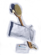 LTI Beauty Soft Natural Bristle Bath & Body Brush for Dry Brushing, with Cloth Travel Bag | Long, Removable Handle | Exfoliates, Massages & Detoxifies Skin