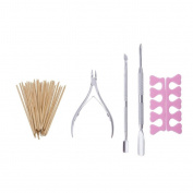 Grand Beauty 50 Pcs Wood Stick Nail Art Cuticle Pusher Remover, Nail Cuticle Nipper with Trimmers Pusher (Pack of 3) And 2 Pcs Toe Separators