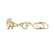 Tinksky Finger Ring Rhinestone Decorated Leaf Heart Joint Knuckle Finger Ring Set-4pcs
