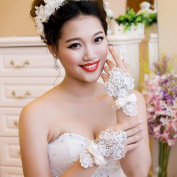 Exquisite Fingerless Lace Bridal Glove with Rhinestone and Pearl