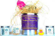 LBK SOAP COMPANY NAUGHTY COWGIRL CAN ENCOMPASSES 240ml BERGAMOT HAND AND BODY LOTION,240ml BATH SALTS,HAND-CUT GLYCERIN SOAP FILLED LOOFAH,ROYAL PURPLE NAUGHTY COWGIRL BANDANA AND SULTRY DUCKIE.