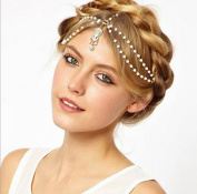 1PC VINTAGE DECO 20s FLAPPER IVORY PEARL HEADBAND GREAT GATSBY WEDDING Head Chain