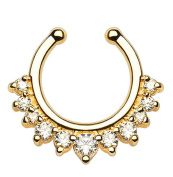 Oasis Plus Crystal Clip on Septum Fake Nose Ring Hoop Non Piercing Hanger Nose Rings Stud Body Jewellery