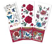 6 Packs Beautiful Temporary Tattoo Book, Temporary Tattoo Book, Butterfly Flower Cartoon Tattoos for Girls