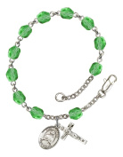 Silver Plate Rosary Bracelet features 6mm Peridot Fire Polished beads. The Crucifix measures 5/8 x 1/4. The charm features a St. Kateri Tekakwitha medal.