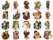 Assorted Vintage Christmas 4.4cm Circles Collage Sheet