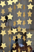 SUNBEAUTY 4m Five-pointed Star String Paper Garland Hanging Decoration Wedding Birthday Party Baby Shower Background Decorative