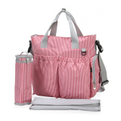 Hynes Eagle Striped Nappy Tote Bag with Changing Pad