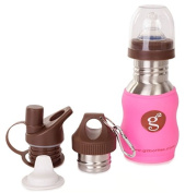 Goo-Goo Baby G2 Wave Stainless Steel Grow Bottle System in Candy Pink, Candy Pink, 0+ Years