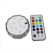 RGB Submersible LED Light Multi Colour Candle Light Waterproof Wedding Party Vase Base Floral Light + 20Key Romote Controller