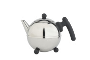 bredemeijer Bella Ronde Double Walled Teapot, 0.75 Litre, Stainless Steel Glossy Finish with Black Accents