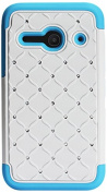 Reiko Premium Hybrid Pc Silicone Double Protection Diamond Bling Case Cover for Alcatel OneTouch Evolve 2 - Retail Packaging - Blue/White