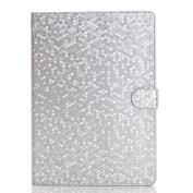 iPad Air 2 Cover Case,SAVYOU Diamond Pattern Folio Flip Stand Case Card Slot Wallet Smart Cover for iPad Air 2 (iPad 6) Silver
