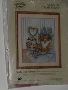 Teddy and Flowers Counted Cross Stitch Kit