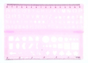 Lettering Stencil Ruler Foldable, Pink
