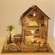 Wooden Dollhouse Miniature DIY Kit with Cover Romantic Pretty Paris Apartment Luxurious House Sweet Home with Light Music for Christmas Boyfriend Girlfriend Gift 32cm