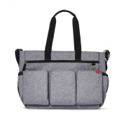 Skip Hop Duo Double Signature Nappy Bag, Heather Grey