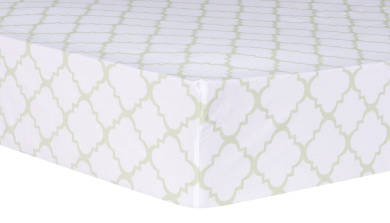 Trend Lab Sea Foam Quatrefoil Fitted Crib Sheet, Sage