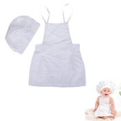 Chinatera Cute Baby Cook Costume Photo Photography Prop Newborn Hat and Aprons White