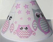 Pink Owl Lamp Shade / Children's Pink Owl Nursery Room Decor