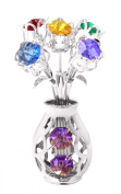 Chrome Silver Plated 5 Flowers in Vase Free Standing with Mixed. Element Crystals