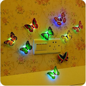 E Support™ 6 PCS Creative Flashing Colourful Butterfly Night Light Stickers Light Indoor lighting Decorations Random