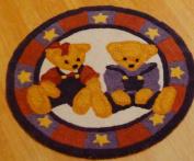 Blue Jean Teddy Round Nursery Rug