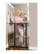 Regalo Deluxe Easy Step 100cm Extra-tall Walk Through Pet & Baby Safety Security Gate Black - Steel Construction Durable and Sturdy - 1-hand Open with Safety Locking Feature