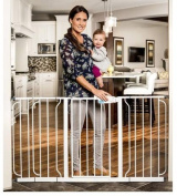 Regalo Extra Wide Wide Span Pet & Baby Safety Security Gate with 3 Extensions White - For a Doorway, Balcony, Top and Bottom of Staircases or a Wide Hall | Great Baby Shower Gift