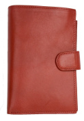 Women's Italian Large Red Genuine Leather Wallet with Removable Passport Holder