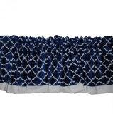 Baby Doll Lattice Minky Window Valance, Navy/White