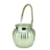 11cm Silent Luxury Seafoam Green Mercury Glass Inspired Glass Pillar Christmas Candle Holder Lantern