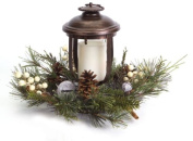 28cm Woodland Inspired Lantern with Frosted Pine and Jingle Bell Christmas Pillar Candle Holder