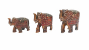 Modish Look Multicolor Wooden Handcrafted Set Of Three Elephants