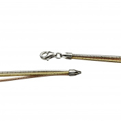 Sterling Silver Tri-Colour 3-Strands Bracelet Italy