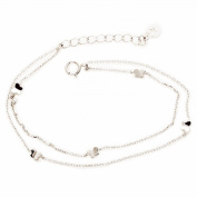 925 Sterling Silver 2 Row Cable Chain Bracelet with 5 Butterfly