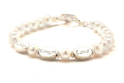 Live Laugh Love Cultured Freshwater Pearl Bracelet