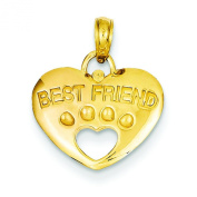 14K Gold Best Friend On Heart With Cut-Out Paw Pendant Charm Jewellery 18 x 15 mm
