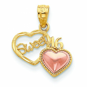 14K Two Tone Gold Sweet 16 Heart Pendant Charm Jewellery 18 x 15 mm