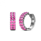 Pink Sapphire Double Row Hoop Earrings 1.20 ct tw in 14K White Gold