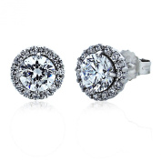 9mm Sterling Silver Round CZ Cluster Flower Stud Earrings, Rhodium Plated